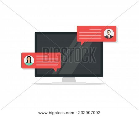 Computer With Customer Review Rating Messages , Flat Cartoon Design Of Desktop Pc Display And Online