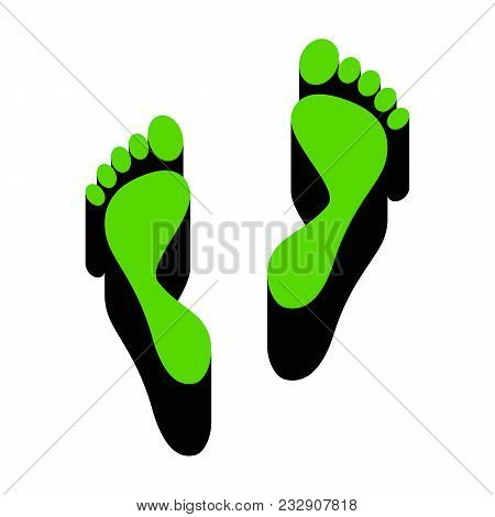 Foot Prints Sign. Vector. Green 3d Icon With Black Side On White Background. Isolated.