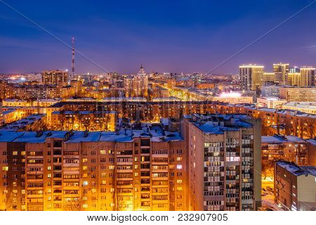 Aerial View Of Night Voronezh Downtown. Voronezh Cityscape At Blue Hour. Urban Lights, Modern Houses