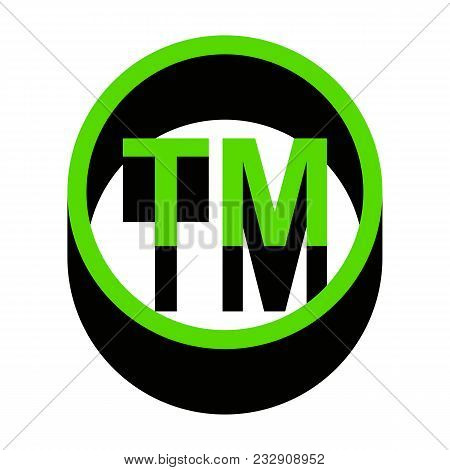 Trade Mark Sign. Vector. Green 3d Icon With Black Side On White Background. Isolated.
