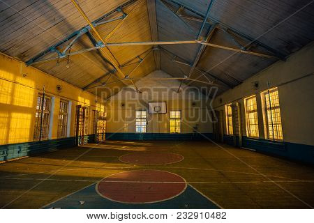 Abandoned gymnasium in abandoned school in Voronezh poster