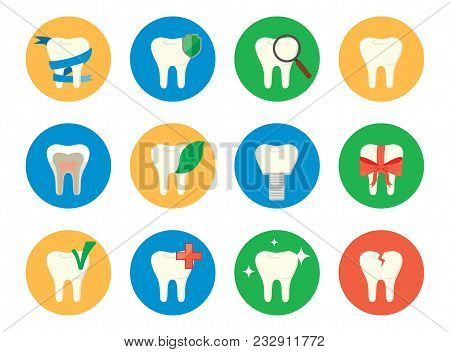 Colorful Tooth Icon Set. Different Tooth Icon. Sixteen Images Of Teeth With Different Objects On The