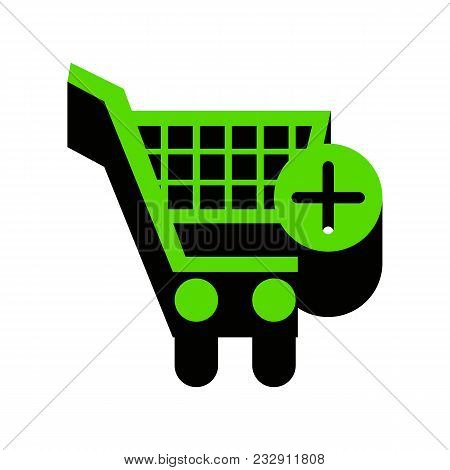 Shopping Cart With Add Mark Sign. Vector. Green 3d Icon With Black Side On White Background. Isolate