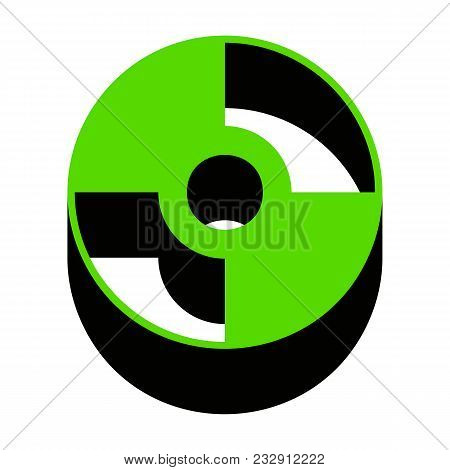 Cd Or Dvd Sign. Vector. Green 3d Icon With Black Side On White Background. Isolated.