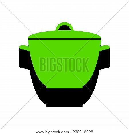 Saucepan Simple Sign. Vector. Green 3d Icon With Black Side On White Background. Isolated.