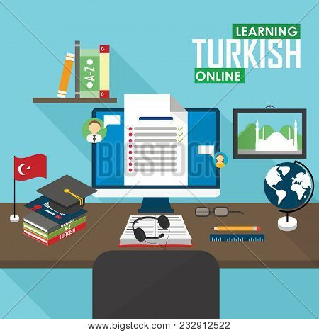 Flat Design Raster Illustration Concept Of Learning Turkish Language Online, Distance Education And