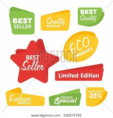 Big Set Of Raster Label, Sticker, Tags. Collection Colorful Abstract Label And Sticker. Blank Label