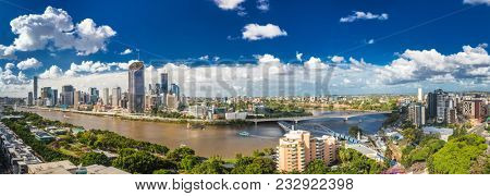 BRISBANE, AUSTRALIA - March 24 2018: Panoramic areal image of Brisbane CBD and South Bank. Brisbane is the capital of QLD and the third largest city in Australia