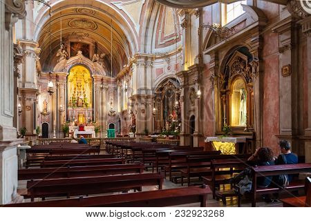 Lisbon, Portugal - October 24, 2016: Santo Antonio de Lisboa Church interior. Built on the Saint Anthony of Lisbon aka of Padua or Padova birth location. View of Nave and Chapels in Baroque style.