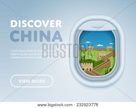 Discover China. Traveling The World By Plane. Tourism And Vacation Theme. Attraction Of Airplane Win