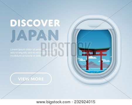 Discover Japan. Traveling The World By Plane. Tourism And Vacation Theme. Attraction Of Airplane Win
