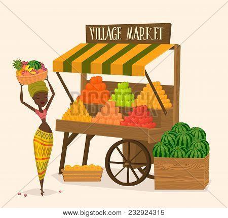Local Farmer Shopkeeper. Seller Fresh Vegetables. Farmers Market Concept. Raster Illustration.