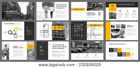Yellow, White And Black Infographic Design Elements For Presentation Slide Templates. Business And A