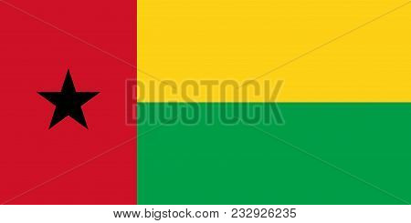 Flag Of Guinea Bissau In Official Colors And Proportions, Vector Image