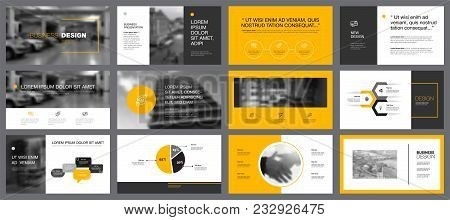 Yellow, White And Grey Infographic Design Elements For Presentation Slide Templates. Business And Pr