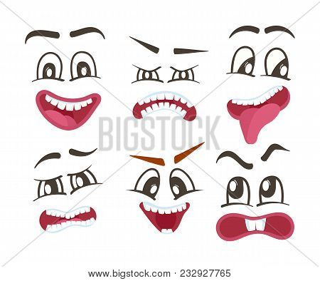 Emoticons or funny smileys icons set. Happiness, anger, joy, fury, sad, playful, fear, surprise smiley, eyes and mouth, funny comic faces. Emoji characters set with different expressions poster