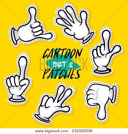 Cartoon Patches With Human Hands. Hands In White Gloves Showing Different Signs Illustration. Funny