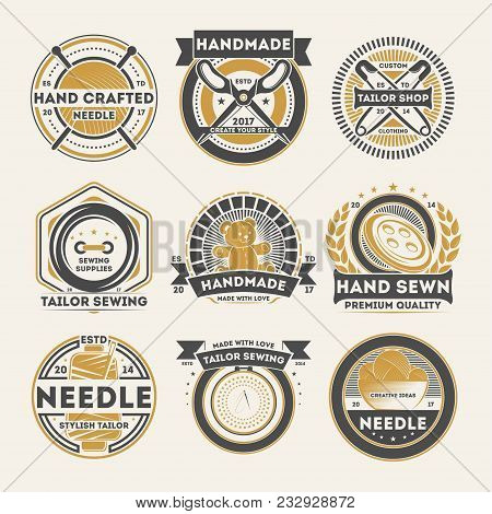 Tailor Shop Vintage Isolated Label Set. Handmade Studio Badge, Handcrafted Needle Logo, Tailor Sewin