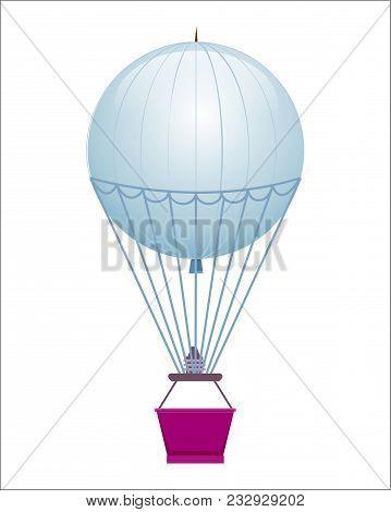 Flying Balloon Icon Isolated On White Background Illustration. Aerostat Airship, Modern Zeppelin, Ae