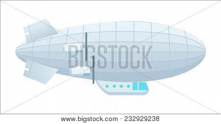 Modern Dirigible Icon Isolated On White Background Illustration. Aerostat Airship, Aerial Vehicle Ze