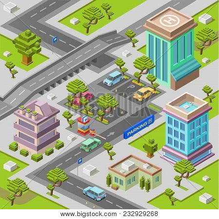 City Map For Parking Lot Isometric 3d Vector Illustration Or Map With Office And Residential Buildin