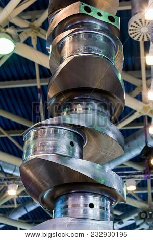 A Steel Crankshaft, The Main Part Of The Internal Combustion Engine.