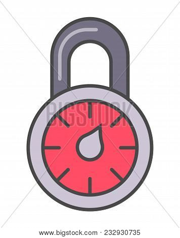 Combination Lock Pictogram Isolated On White Background Illustration. Business Protection, Security