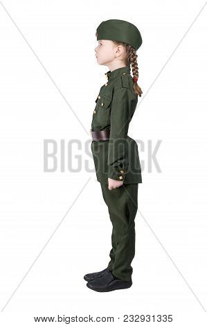 Girl In Military Uniform Stands Straight, Side View, Isolated On White