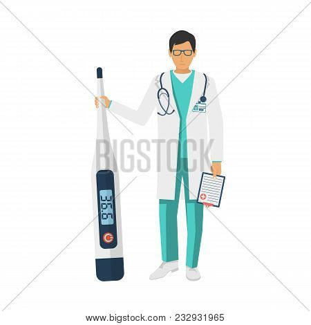 Doctor Hold Medical Digital Thermometer In Hand. Template For Symptoms Of Cold. Increased Heat. Heal