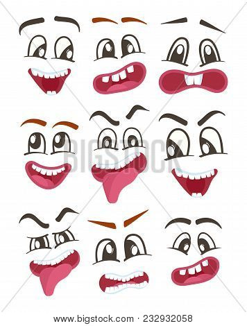 Smiley Faces With Different Facial Expressions. Emoji Characters Set, Emoticon Collection. Happiness