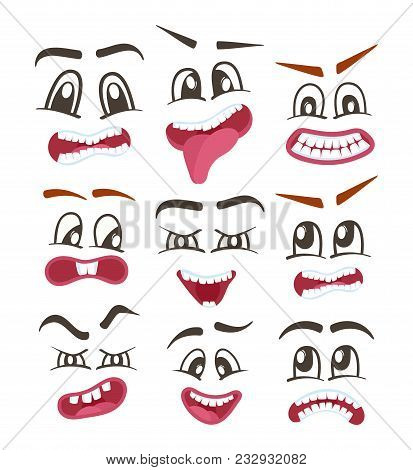 Comic Faces Isolated Icons Set For Web. Happiness, Anger, Sad, Joy, Fear, Surprise Smiley, Eyes And