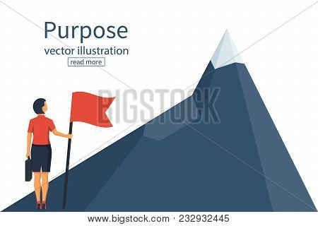 Purposeful Businesswoman With Flag In Hand. Beginning Of Way To Achievement Of Goal. Standing In Fro