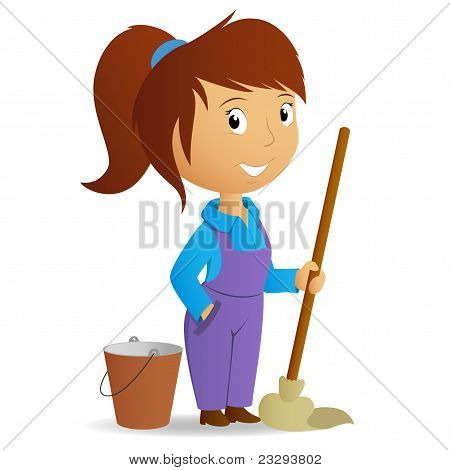 Cartoon Cute Girl With Swab And Bucket
