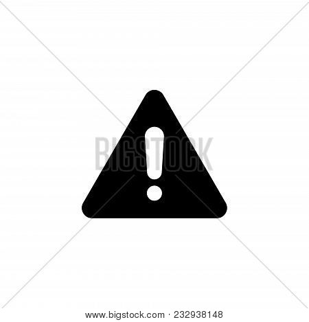 Exclamation Danger Point. Flat Vector Icon. Simple Black Symbol On White Background
