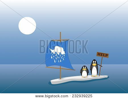 Two Penguins Are Left Behind On The Last Ice Floe After All The Ice Berg Has Melted. Global Warming