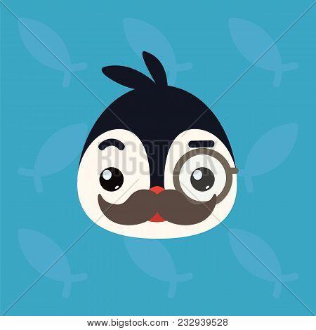 Penguin Emotional Head. Vector Illustration Of Cute Arctic Bird Shows Intelligent Emotion. Mister Em