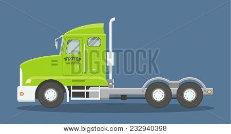Cartoon Style Flat Illustration Of A Semi Truck Side View. Eps10 Vector Scalable Image Of A Heavy Fr