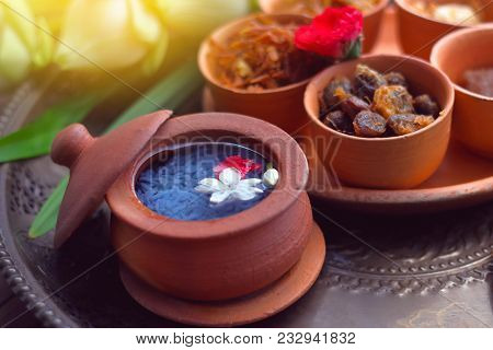 Khao Chae Is Rice In Cold Water Set In Pottery, Thai Traditional Food Usually Eat In Summer Or Songk