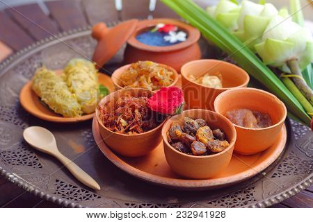 Side Dish Of Kao Chae Set In Pottery, Thai Traditional Food Usually Eat In Summer Or Songkran Festiv