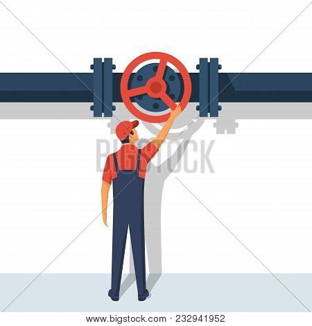Flow Control. Vector Illustration Flat Design. Isolated On White Background. Man Working Standing On