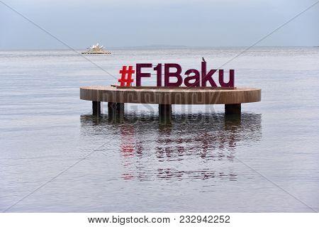 Baku, Azerbaijan - December 22: Formula 1 Sign Over Water On Cloudy December Early Evening At Bay Of