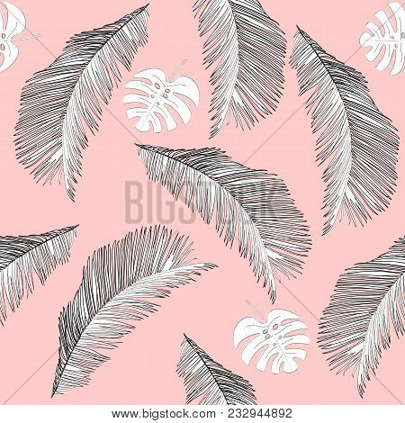 Tropical Seamless Vector Pattern With White Leaves.