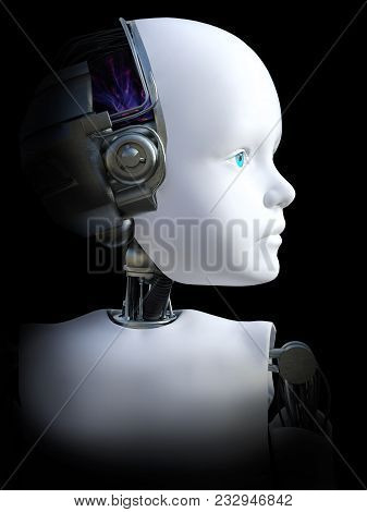 Face Portrait Of A Robot Child, 3d Rendering. Black Background.