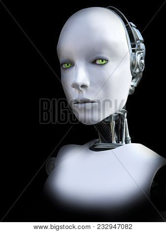 Face Portrait Of A Female Robot, 3d Rendering. Black Background.