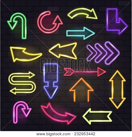 Neon Arrow Vector Glowing Arrows And Illuminated Arrowheads Directions Illustration Set Of Cursed Po