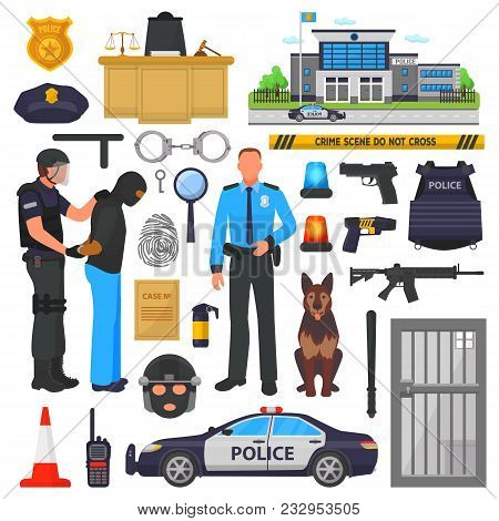 Police vector policeman character and policeofficer in bulletproof vest with handcuffs in police-office illustration set of or policy signs and police car isolated on background. poster