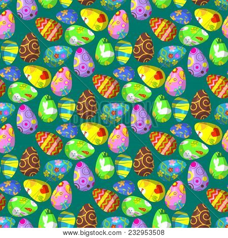 Easter Eggs Vector Painted With Spring Pattern Decoration Retro Multi Colored Vintage Ornament Organ