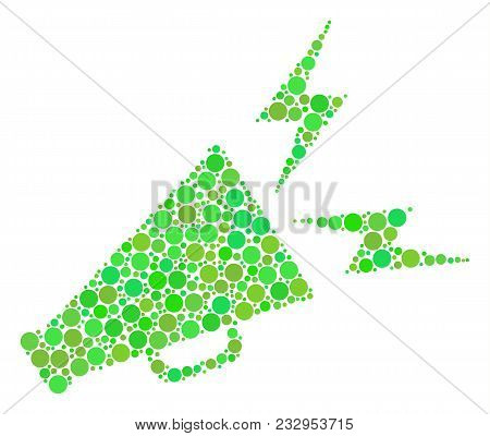 Alert Megaphone Collage Of Circle Elements In Various Sizes And Eco Green Color Tints. Vector Dots A