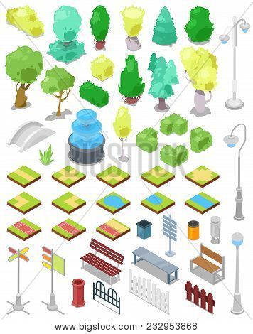 Park Vector Parkland With Green Garden Trees With Street Lights Or Lamps And Fountain In City Illust