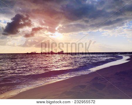Sea Sunset Background. Amazing Sea Sunset Sunset Sea Picture. Sunset Sea Waves. Summer Sunset